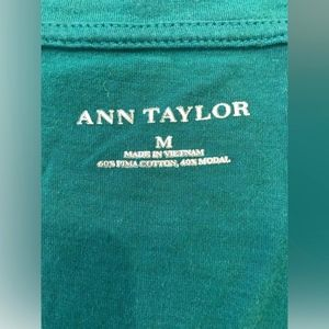 Ann Taylor Tops - Ann Taylor Dark Green Short Sleeve V-Neck T-Shirt